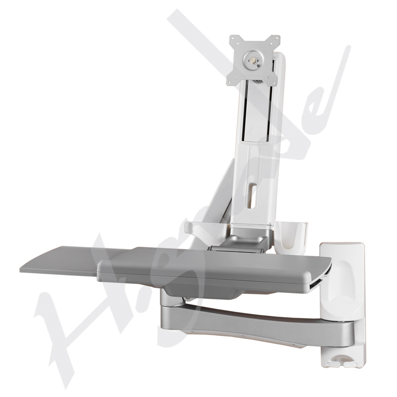 Sit Stand Spring Arm Wall Mount Computer Workstation Combo System