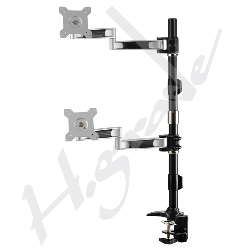 Dual Lcd Monitor Stand Vertically With Desk Clamp Base
