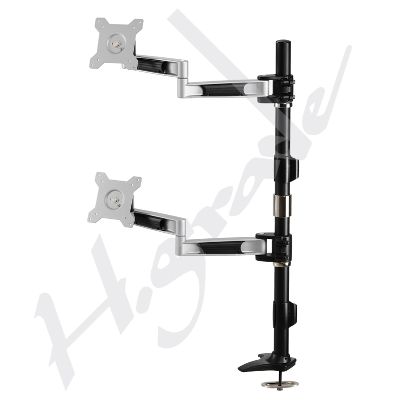 Dual LCD Monitor Stand with 2 articulating arms