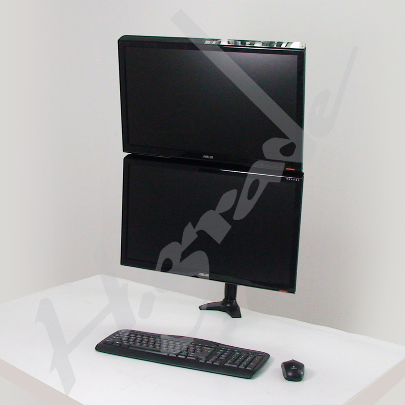 Dual LCD Monitor Stand with one articulating arm