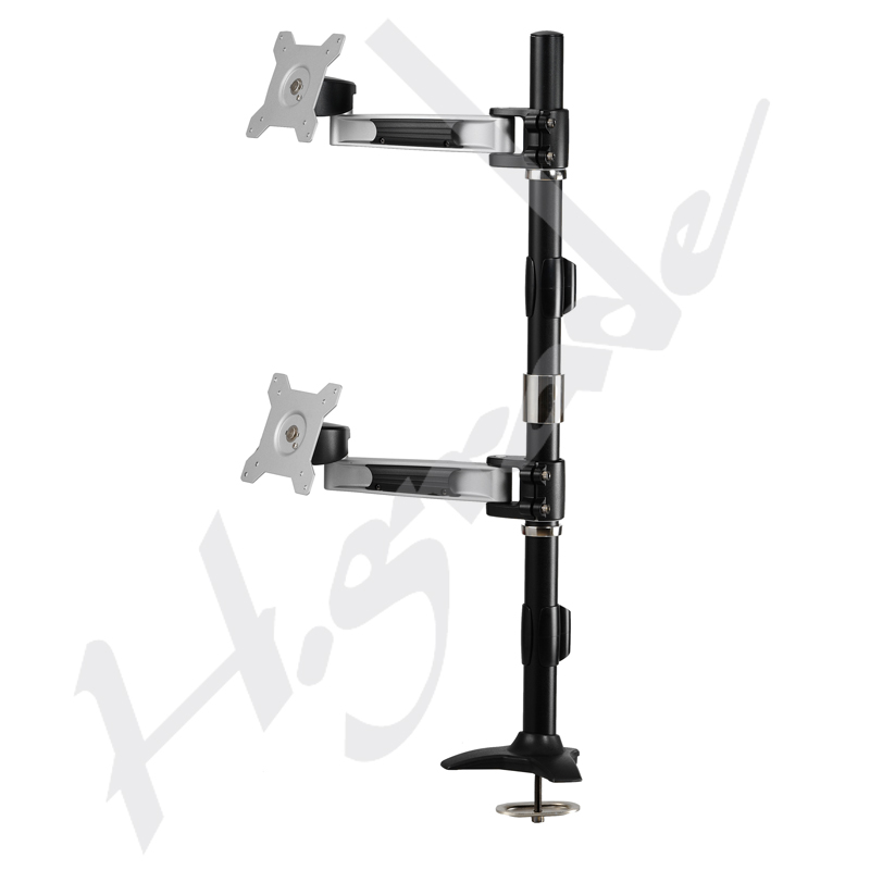 Multi Mounts - Dual Vertical LCD Monitor Stand with one articulating arm - Grommet Base