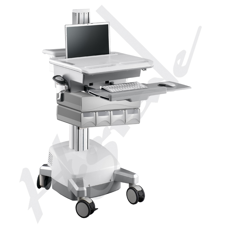 mobile workstation trolley cart for healthcare medical it with sla batteries to support laptop. Black Bedroom Furniture Sets. Home Design Ideas