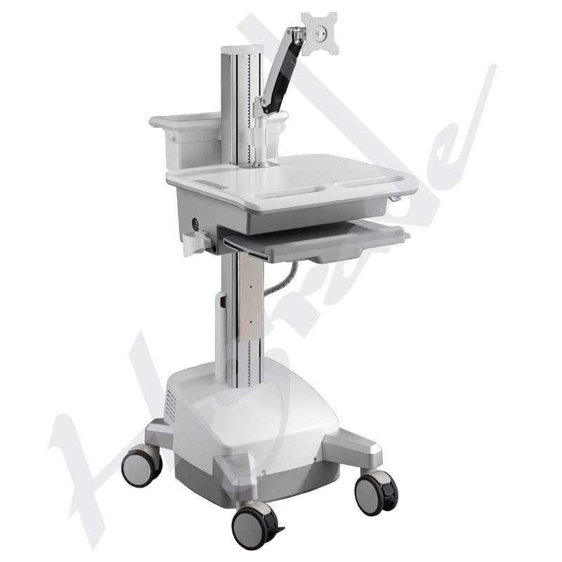 Mobile Trolley Cart for HealthCare IT - Single Monitor with Interactive Arm and LiFe powered