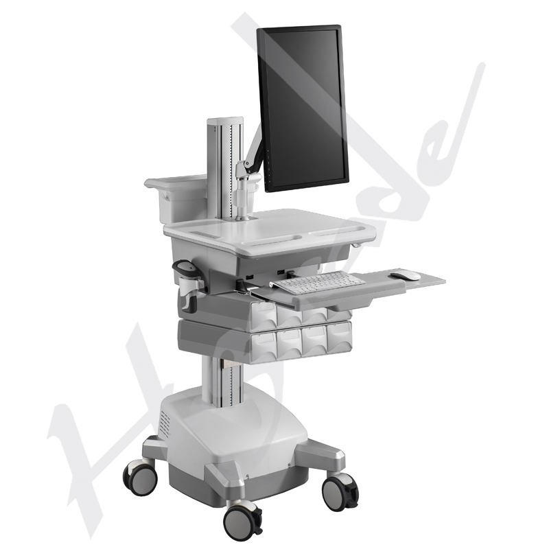 Mobile Workstation Trolley Cart for HealthCare/Medical IT - with LiFe battery and LCD ARM to support single monitor