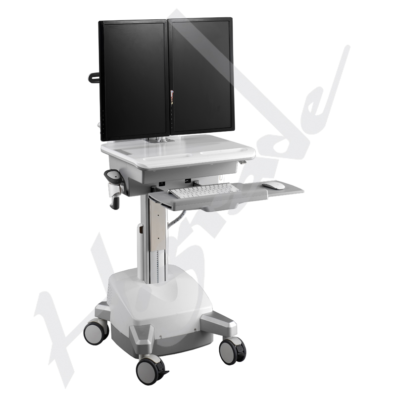 Mobile Workstation Trolley Cart for HealthCare/Medical IT - with SLA batteries to support dual monitors