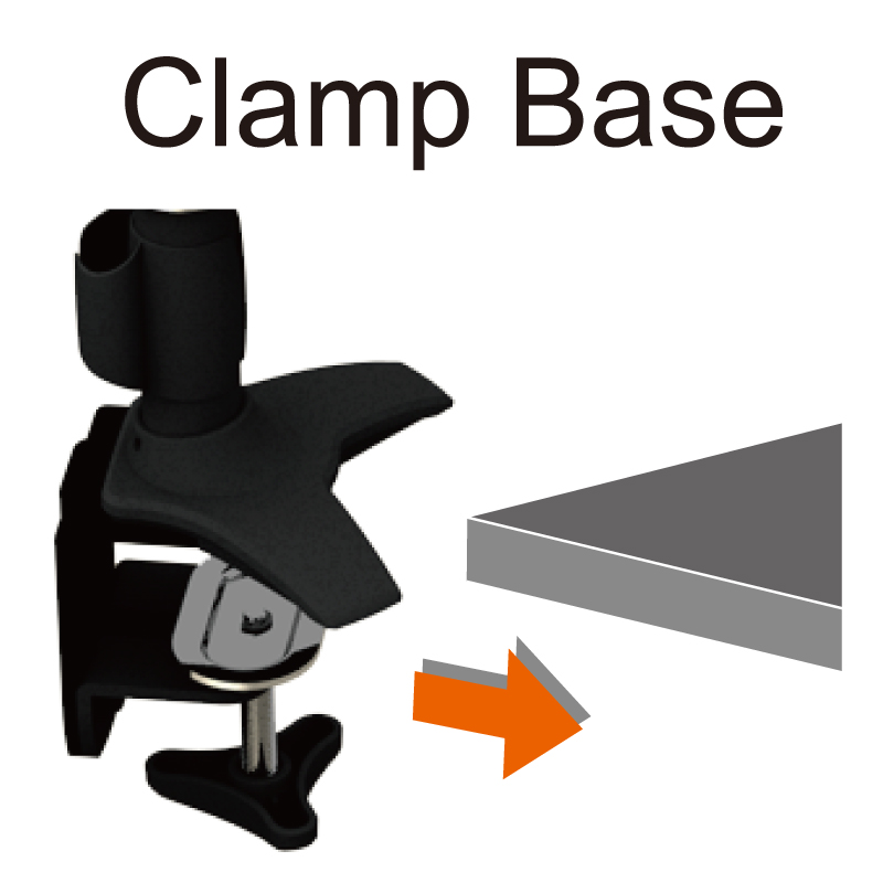 Single LCD Monitor Stand - Clamp Base
